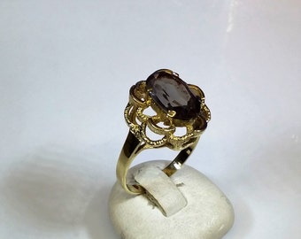 Nostalgic ring gold 333 with Amethyst old GR219