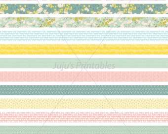 17 printable washi tape strips - Instant download - For journals, planners, scrapbooks, cards, embellishments