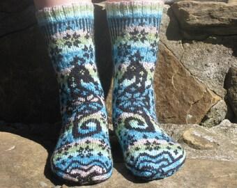 Hand Knit Socks, Merino Wool, Fair Isle, Seahorse, Womens 7-9, Blue, Green, Black, fairisle, Scandinavian, Norwegian