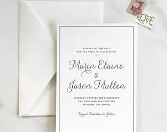 Classic and Elegant - Gray and White Calligraphy Letterpress Save the Date - DEPOSIT for Print Order