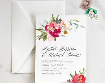 Colorful Floral Save the Date, Vibrant Save the Date, Bright Floral Save the Date, Garden Save the Date, Flower Save the Date - DEPOSIT