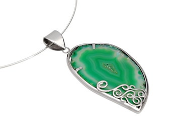 Agate slice necklace, agate pendant, sterling silver, green agate, agate jewelry, gemstone pendant, raw stone necklace, gift for her, boho