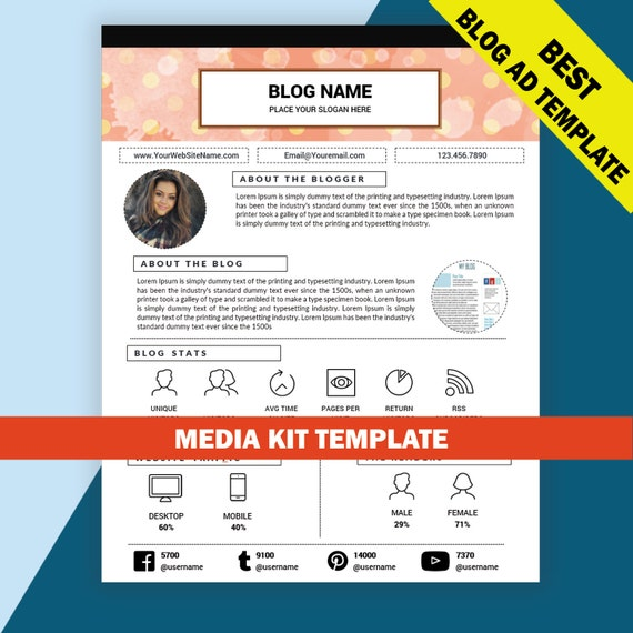 Blog media kit template mixed media kit instant download ad for Advertising media kit template