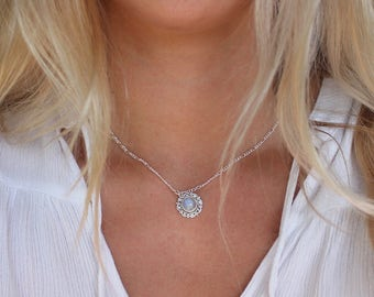 JOSIE   Moonstone Opal Pendant Choker Everyday Necklace in Silver- Opal Short Necklace- Gypsy Necklace- Gifts for Her- Layering Jewelry