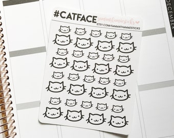 Cute Cat Face Erin Condren Lifeplanner™ Stickers