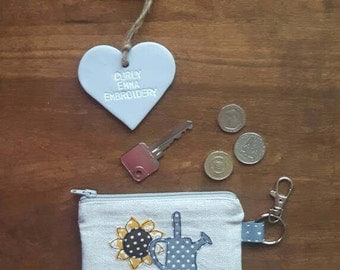 Sunflower small zip key pouch, sunflower coin purse, sunflower applique, keychain, gift for her, Mother's Day,machine free motion embroidery
