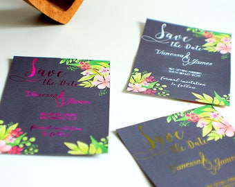 Save the date wedding cards, floral save the date, foiled wedding, black cards, wedding notice, we are getting married, date reminder