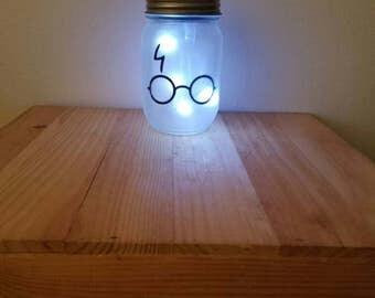 Mason Jar Night Light, Solar Powered Night Light ,Light Jar, Harry Potter Night Light, Harry Potter Jar