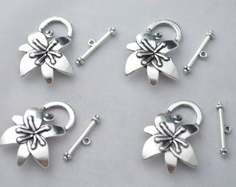 4 Set ( 8 Pieces ) Flower Toggle Clasp Antique Silver Tone YD1273