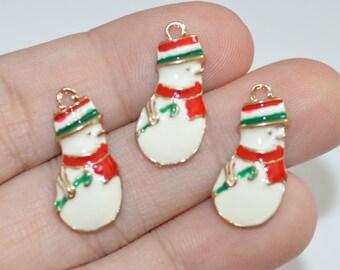 3 Pcs Snowman Enamel Charms Christmas Charms 10x22mm - C05