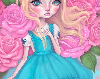 Alice in Wonderland - 8x10 - Art Print - pop surrealism, big eyes, girl, fairy tale, tea party, pink, roses, pretty, blonde hair, pastels
