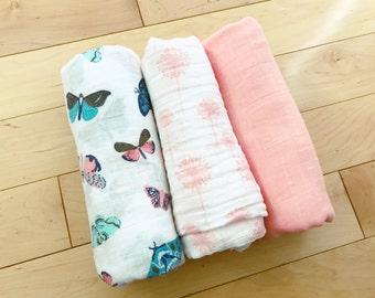 Baby Girl Swaddle Blankets / Muslin / Butterflies / Dandelions