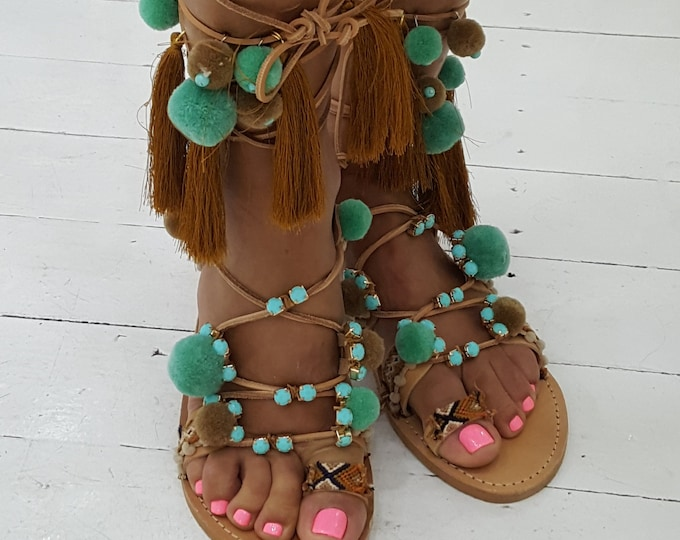 "Greek sandals,tie up,pompoms sandals,tassels,ethnic,gladiators sandals,women's sandals ,  handmade sandals ""GODDESS APHRODITE"""