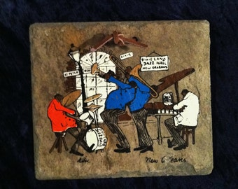 New Orleans Jazz Picture On 1800's Roof Slate From The Vieux Carre