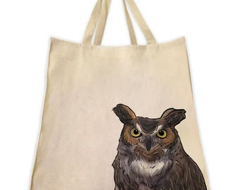Pet Gifts, Great Horned Owl Portrait Design, Gifts for Bird Lovers, Gifts for Owl Lovers, Extra Large Cotton Canvas Tote, Shoulder Handbag