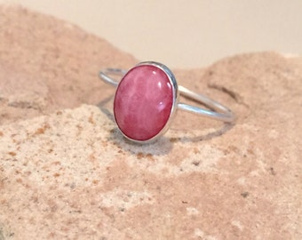 Sterling silver rhodochrosite ring, oval stone ring, oval gemstone ring, stackable sterling silver ring, sterling silver ring, gift for her