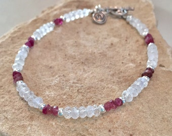 Moonstone bracelet, tourmaline bracelet, Hill Tribe silver bracelet, spiral charm, gemstone bracelet, charm bracelet, gift for her