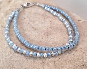 Blue double strand seed bead bracelet, Czech glass seed bead bracelet, Hill Tribe silver bracelet, sundance style bracelet, boho bracelet