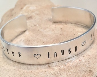 Sterling silver word cuff bracelet,  Live Laugh Love word cuff bracelet with hearts, hand stamped sterling silver bracelet, silver bracelet