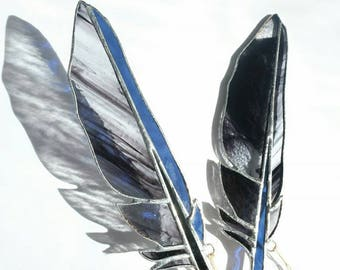 Blue Feather, Black Quill, Stained Glass Feather, Raven Feather, Black Feather, Gothic Art, Mystic Art, Glass Suncatcher, Window Hanging