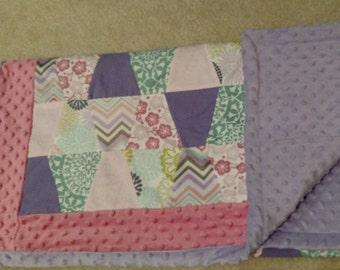 "Super Snuggly Soft Blanket, Tumbler Patchwork, Oversized Kid Size 37""x64"""
