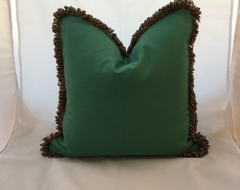 """20"""" Scalamandre Green Cotton Down Feather Decorative Throw Pillow with Cotton Loop Fringe"""