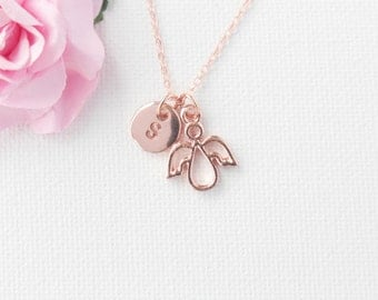 rose gold angel Necklace, rose gold angel, rose gold angel Pendant, Love Jewelry, Wedding Jewelry, Anniversary Gift,valentines gift