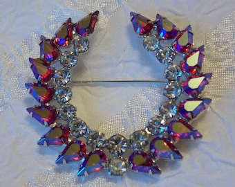 Vintage Victory Wreath Brooch by B. David Cranberry Ruby Red and Crystal