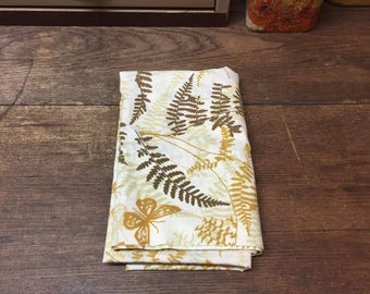 Vintage Pillowcase Percale Brown Goldenrod Butterfly Fern