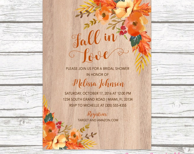 Fall in Love Bridal Shower Invitation, Autumn Falling in Love Floral Leaves Watercolor Wedding Wood Rustic Invite, Printable Printed