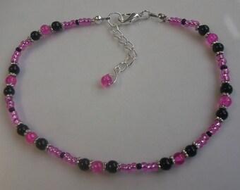 Pink ankle bracelet, stretch anklet, glass beaded anklet, pink anklet, boho anklet, beach anklet, black anklet, pearl anklet
