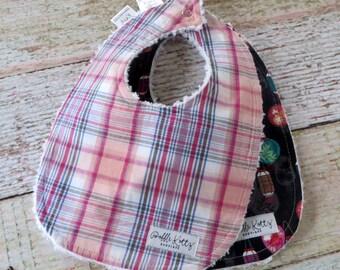 Baby Bibs - Baby Girl Bibs - Lantern Baby Bibs - Pink Orange Plaid Bibs - Chenille Bibs - Oriental Inspired Baby Bibs - Baby Shower Gift