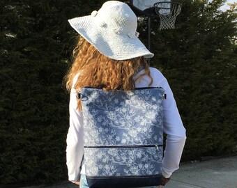 Blue Floral Backpack, Vegan Rucksack, Large Laptop Bag, Functional Canvas Bag, Romantic Women Fashion, Flower Crossbody Bag, Handmade Gift