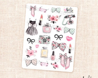 Girly Stickers - 24 watercolor decorative stickers