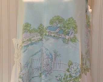 Vintage up-cycled tablecloth Aqua country scene blue roses cotton tank top with crochet pocket and trims
