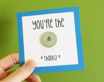 You're the shit, poop emoji, hand stamped coin, pocket token, Funny thank you card, thank you gift, thank you card