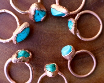 SALE \\ Turquoise Ring, Electroformed Ring, Copper Ring
