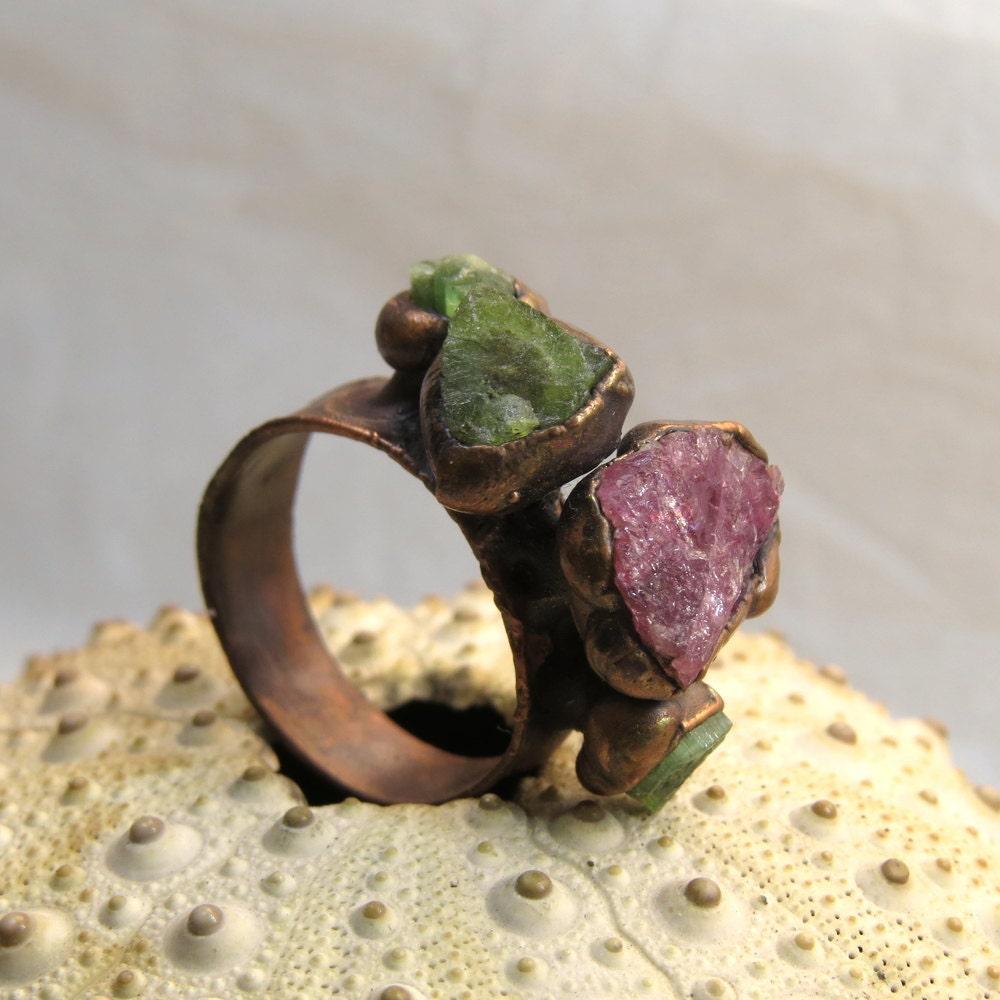 Rough pink tourmaline ring Rough green tourmaline ring
