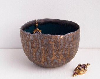 handmade teal and gold  ceramic ring bowls, gold pottery bowl, gold jewellery holder, ring holder display, teal gold ring dish, ring display
