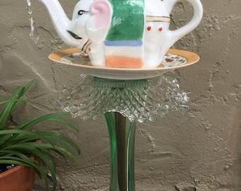 "Tea Pot Totem, Garden Art, Vintage Glass, Yard Art, Elephant in the Garden, ""Raja"""