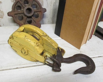 Vintage Hinged Metal and  Wooden Block Pulley, Barn Pulley, Industrial Pulley, Block and Tackle,Nautical Pulley