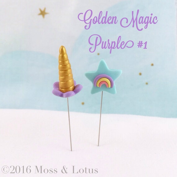 Gold/PURPLE Unicorn Horn & Star w/ Rainbow Pin Topper (2 piece set) SEWING QUILTING