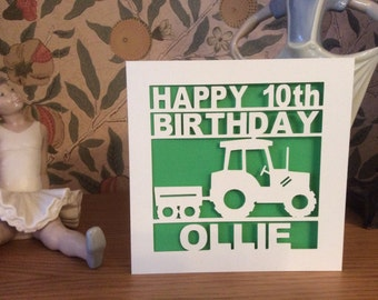 Papercut - Personalised 1st, 2nd, 3rd, 4th, 5th, 6th, 7th, 8th, 9th, 10th Birthday Card - Tractor Birthday Card