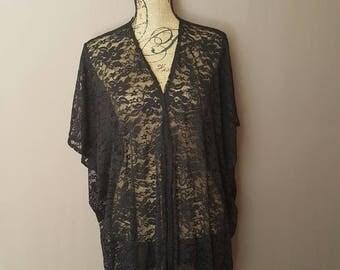 Sale! Black Lace Kimono Cardigan