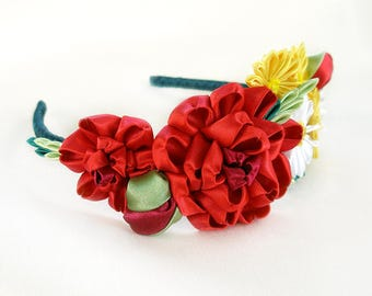 Kanzashi Flower headband Flower headpiece Wedding flower crown for women Head band Adult headband Red flower hair wreath Summer gift|for|her
