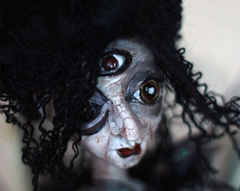 Goth horror doll with black crow Black Halloween doll Horror doll  Unique art doll Collectibles doll Scary art doll unique  doll decoration