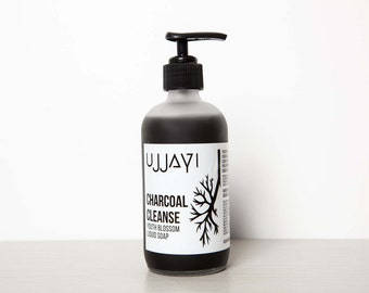 Charcoal Cleanse, Organic Castile Liquid Soap, Face Wash, Free shipping, Gift Idea