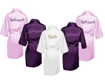 Bridesmaid Robes Set of 8 - Bridal Party Robes - Bridesmaid Wedding Gift - Robe - Personalized Satin Robes