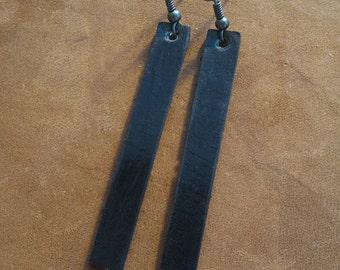 Black Leather dangle drop earrings lightweight, inspired by HGTV's Joanna Gaines earrings / boho / 3rd anniversary