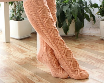 Wool socks Womens socks Boot socks Knee high socks Winter socks Womens wool socks Warm socks Cable knit socks Knee high boot socks
